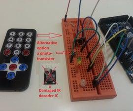 Home built IR Remote receiver or Demodulator using Phototransistor and Arduino Due