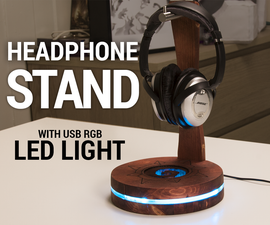 USB Headphone Stand With RGB LED Lighting