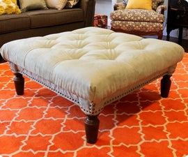 DIY Diamond Tufted Ottoman