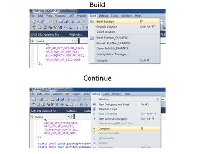 Build (F7 / Build -> Build Solution), Run(continue/ Green Arrow/ F5/ Debug -> Continue).