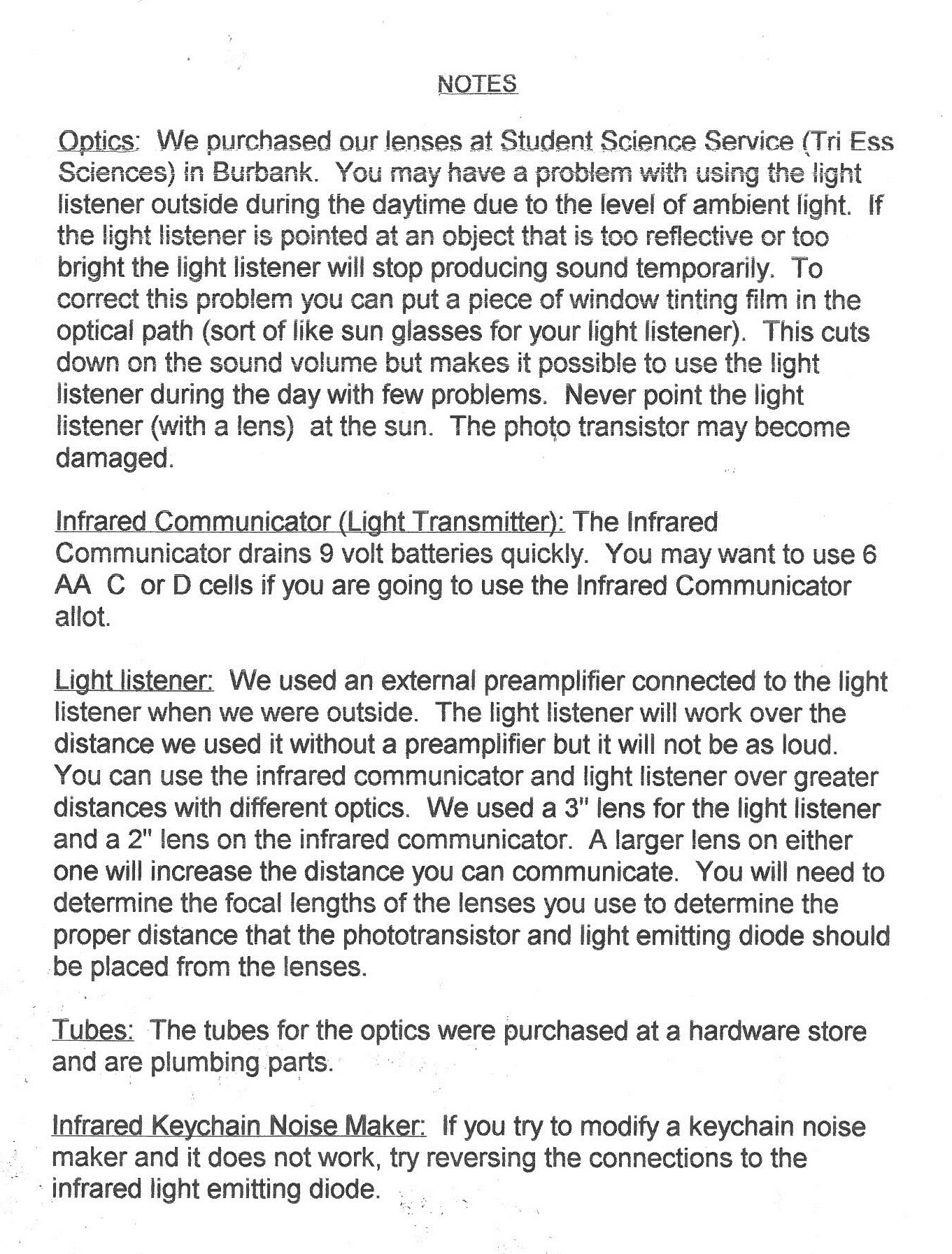 Picture of Light Wave Communication: Hand Outs From Class Room Demonstrations