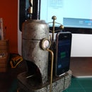 Steampunk Iphone Dock with smoking boiler