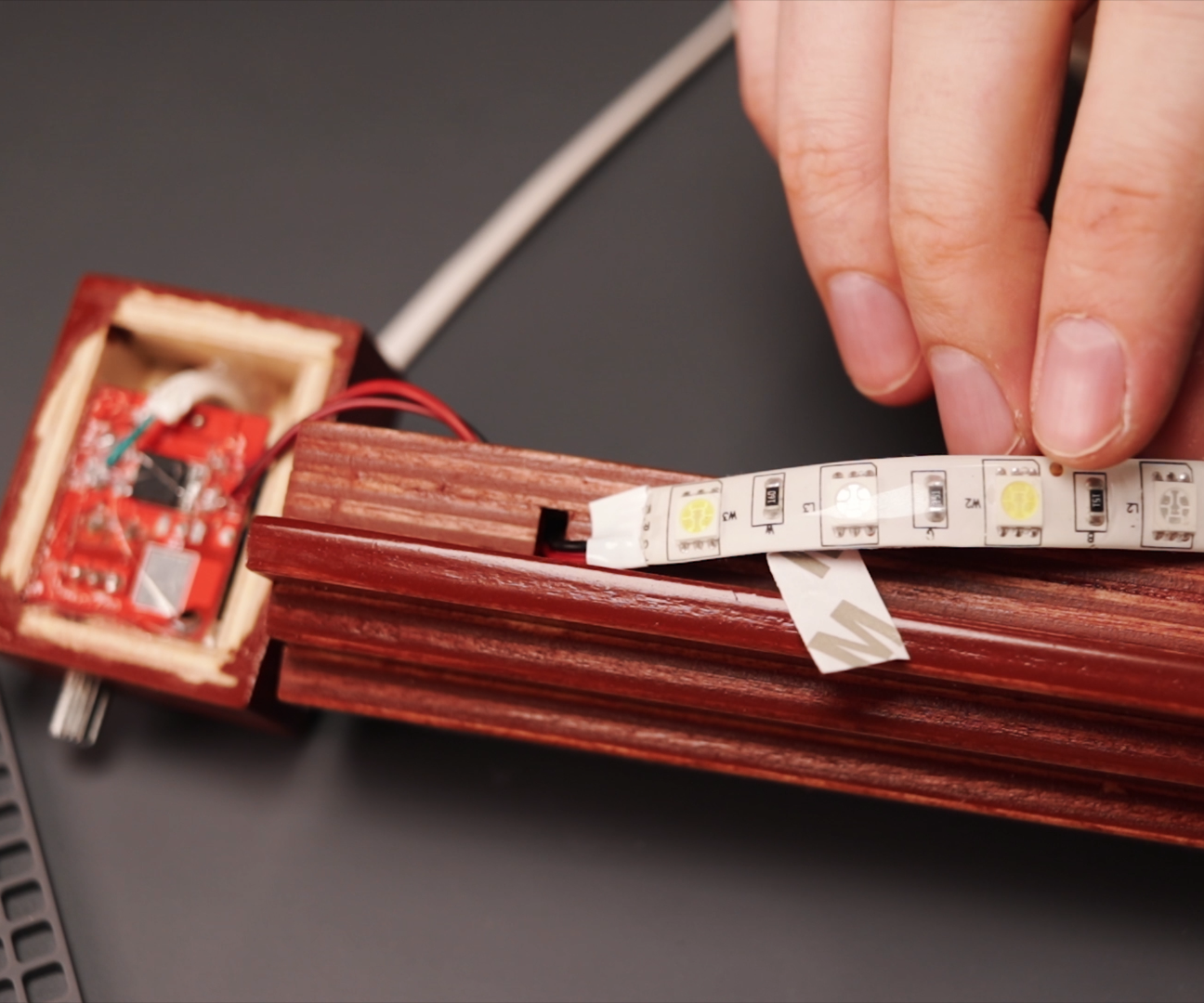 Picture of Gluing Dimmer, Cable and LED Strip