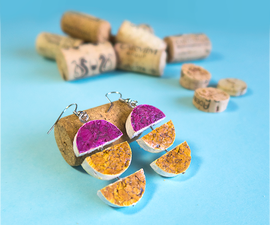 DIY Recycled Wine Cork Geometric Earrings