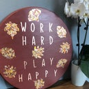An Inspiring Gilded Copper Leaf and Tamise Sign