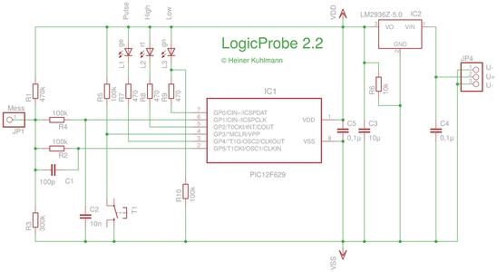 Circuit of the LogicProbePic