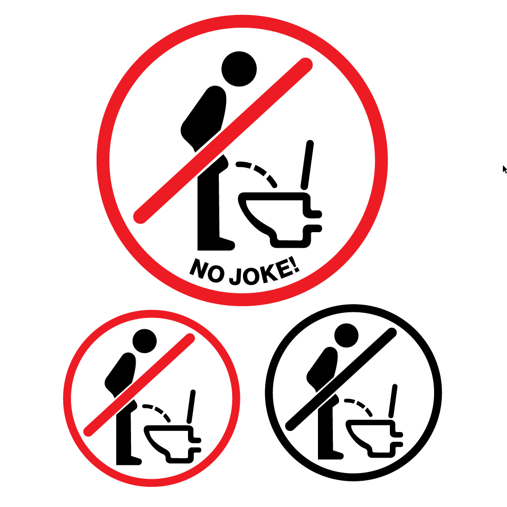 Picture of Create Your Own Effective Sitting-Down-Peeing-Sign for Your Toilet/WC (download 3 Files)