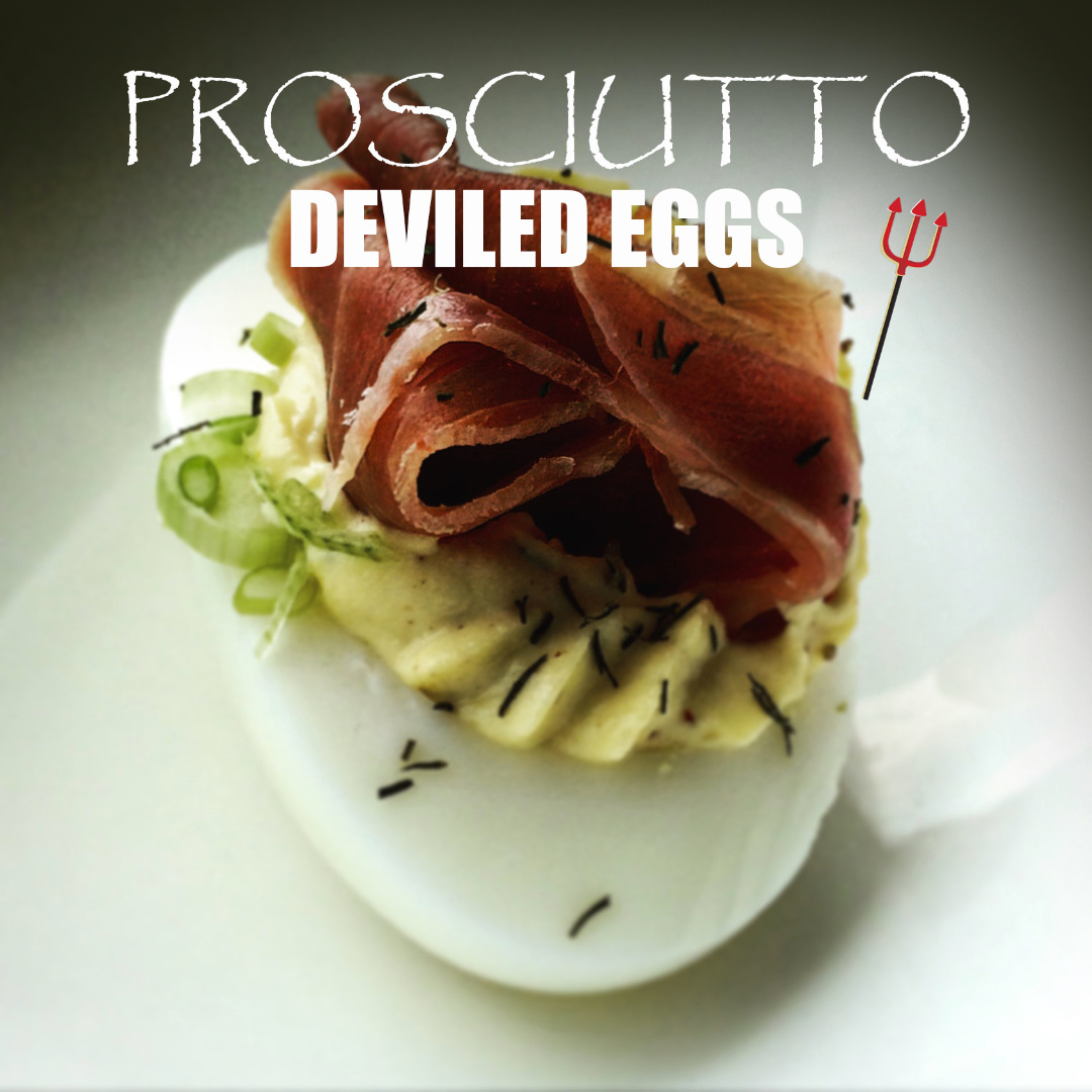 Picture of Deviled Eggs - Prosciutto Topped Gourmet Deviled Eggs