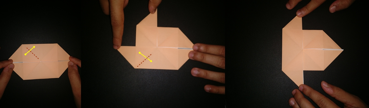Picture of Now Rotate the Paper 90 Deg and Take Top Left and Bottom Left and Fold Along the Diagonal Crease