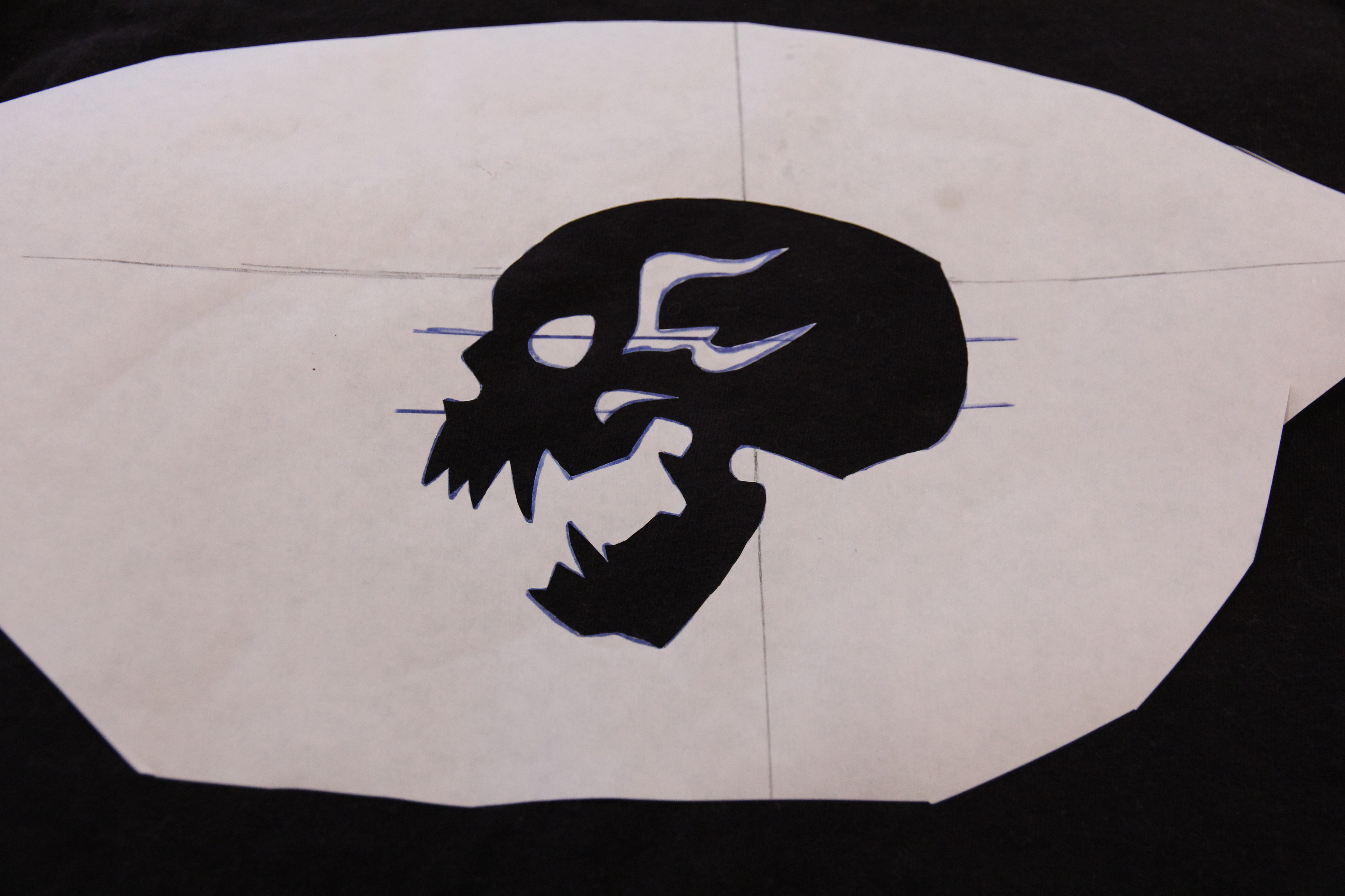 Picture of Bleached Skull Stencil - Ironing the Interior Pieces