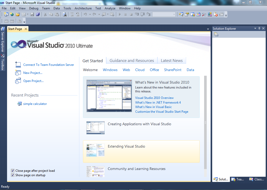 Picture of Creating a New Visual Studio Project