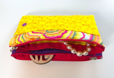 Quilted Two Zipper Jewelry Pouch