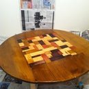 Round Wood Table with Check Pattern