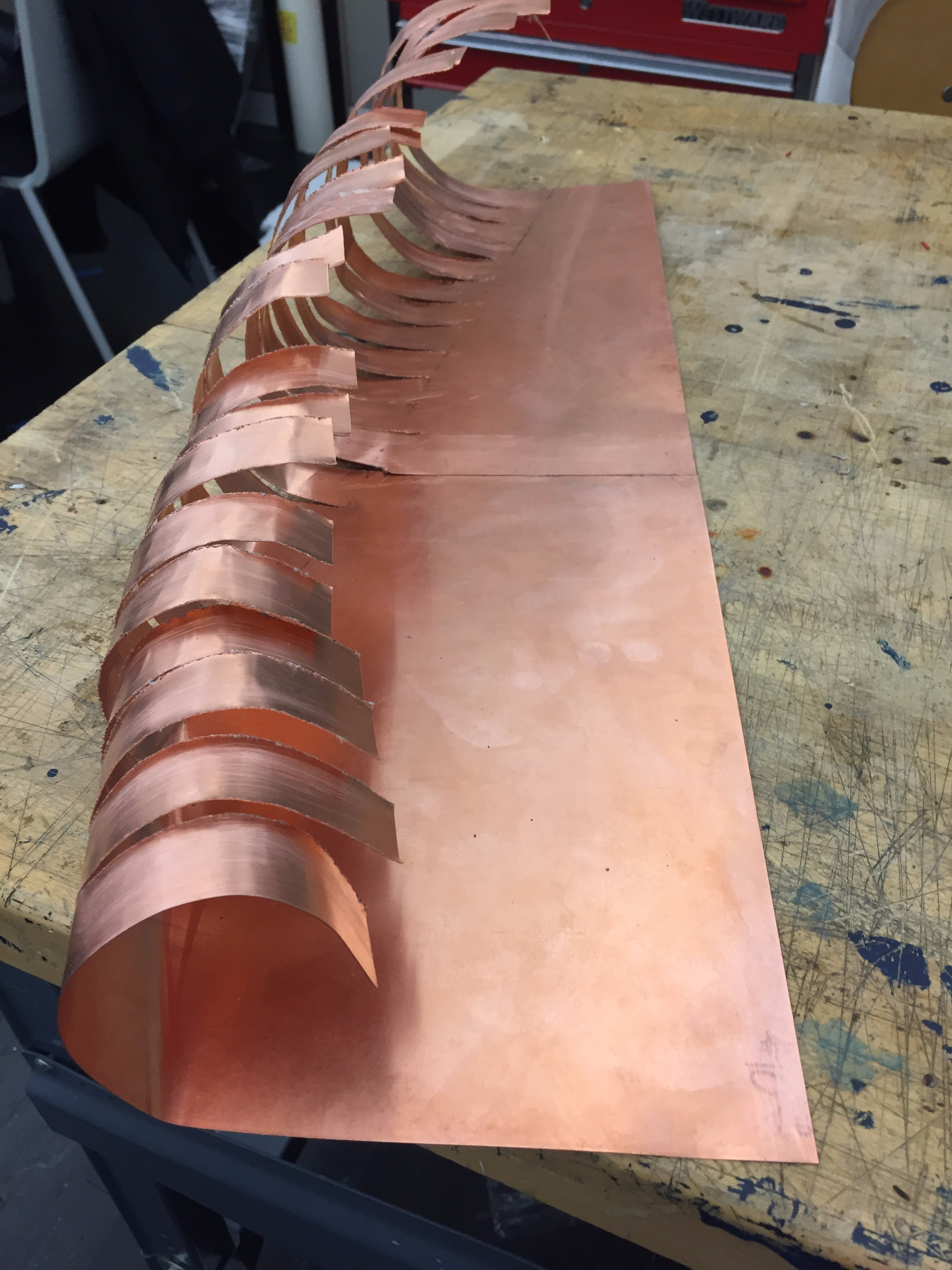 Picture of Bending Sheets of Copper