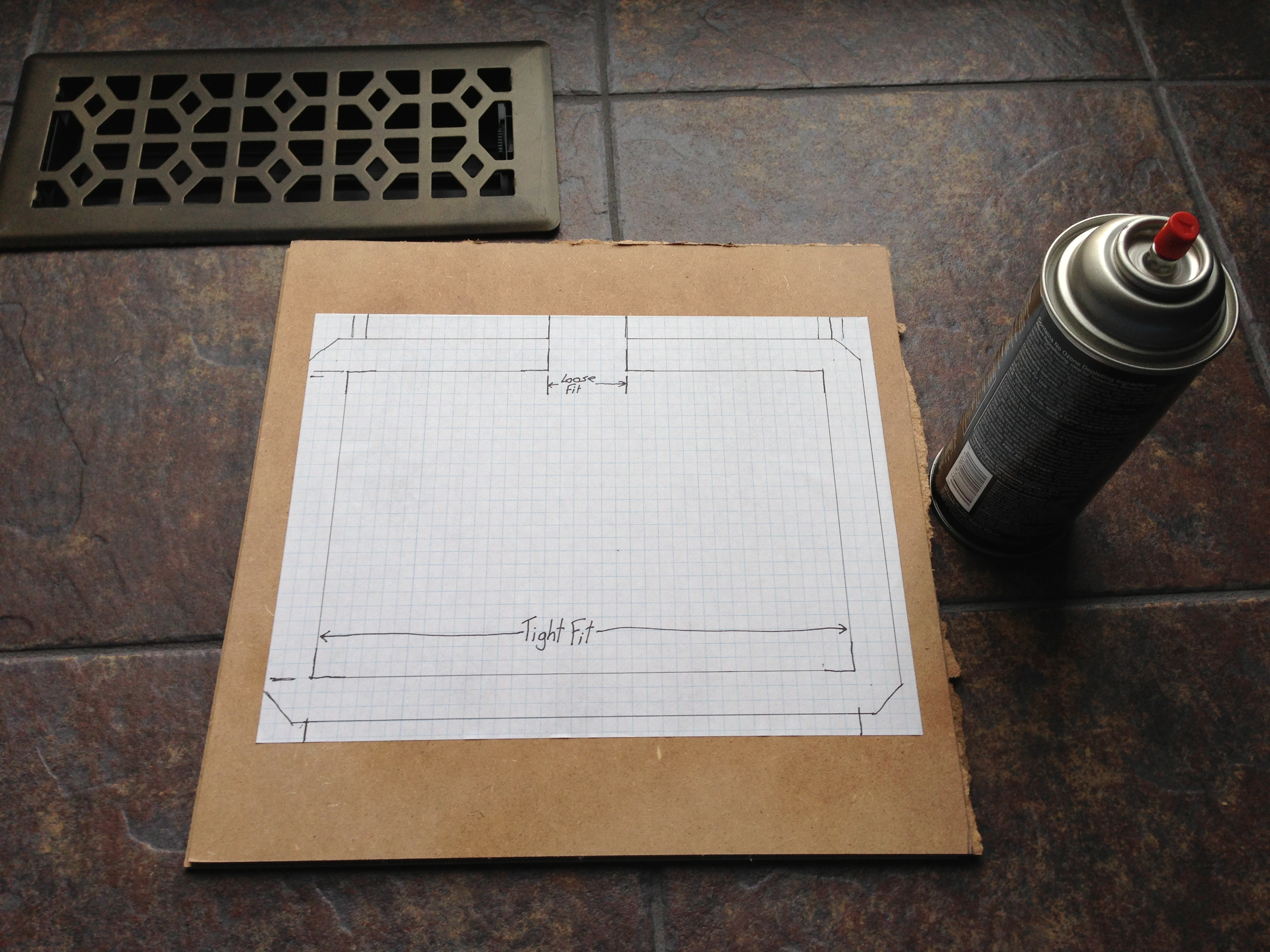 Picture of Glue Graph Paper on Box or Particle Board