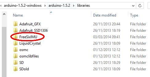 Picture of FreeSix IMU Library Installed