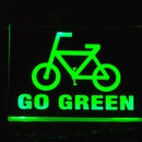Go Green Sign for bikers backpack
