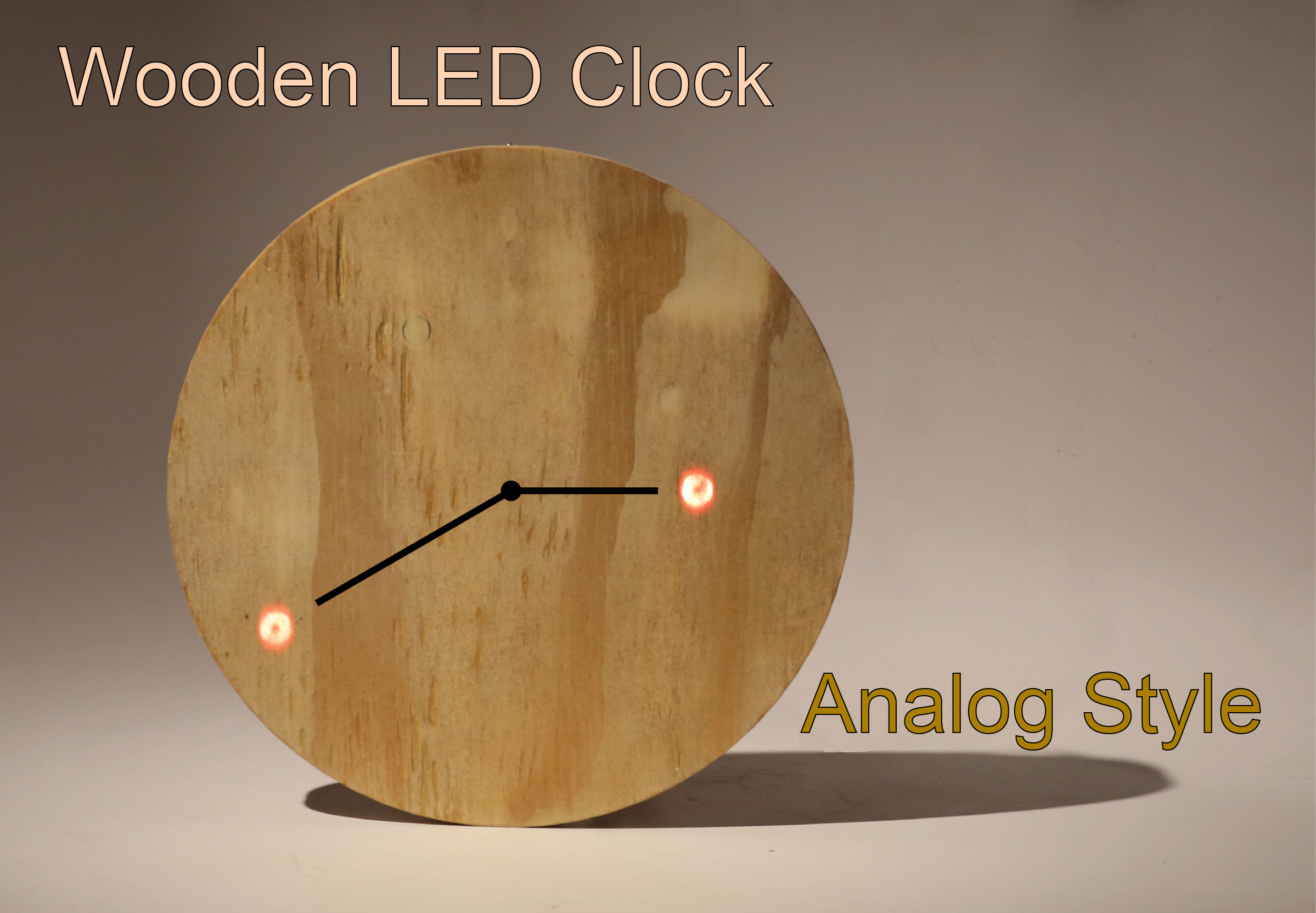 Picture of Wooden LED Clock - Analog Style