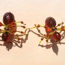 Blood Amber Spider Earrings