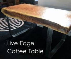 Live Edge Coffee Table w/ Metal Base