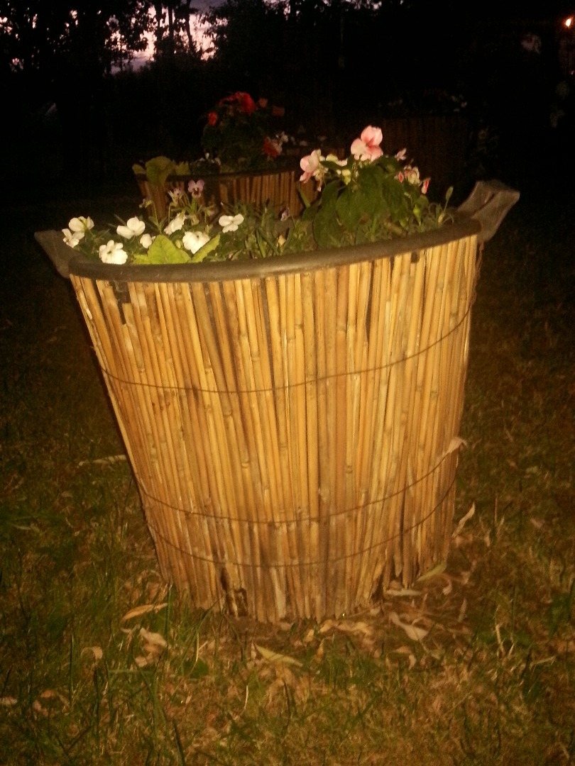 Picture of Beautiful  Flowerpot Covered With Reed