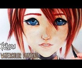 Kairi - Kingdom Hearts - Watercolor Painting