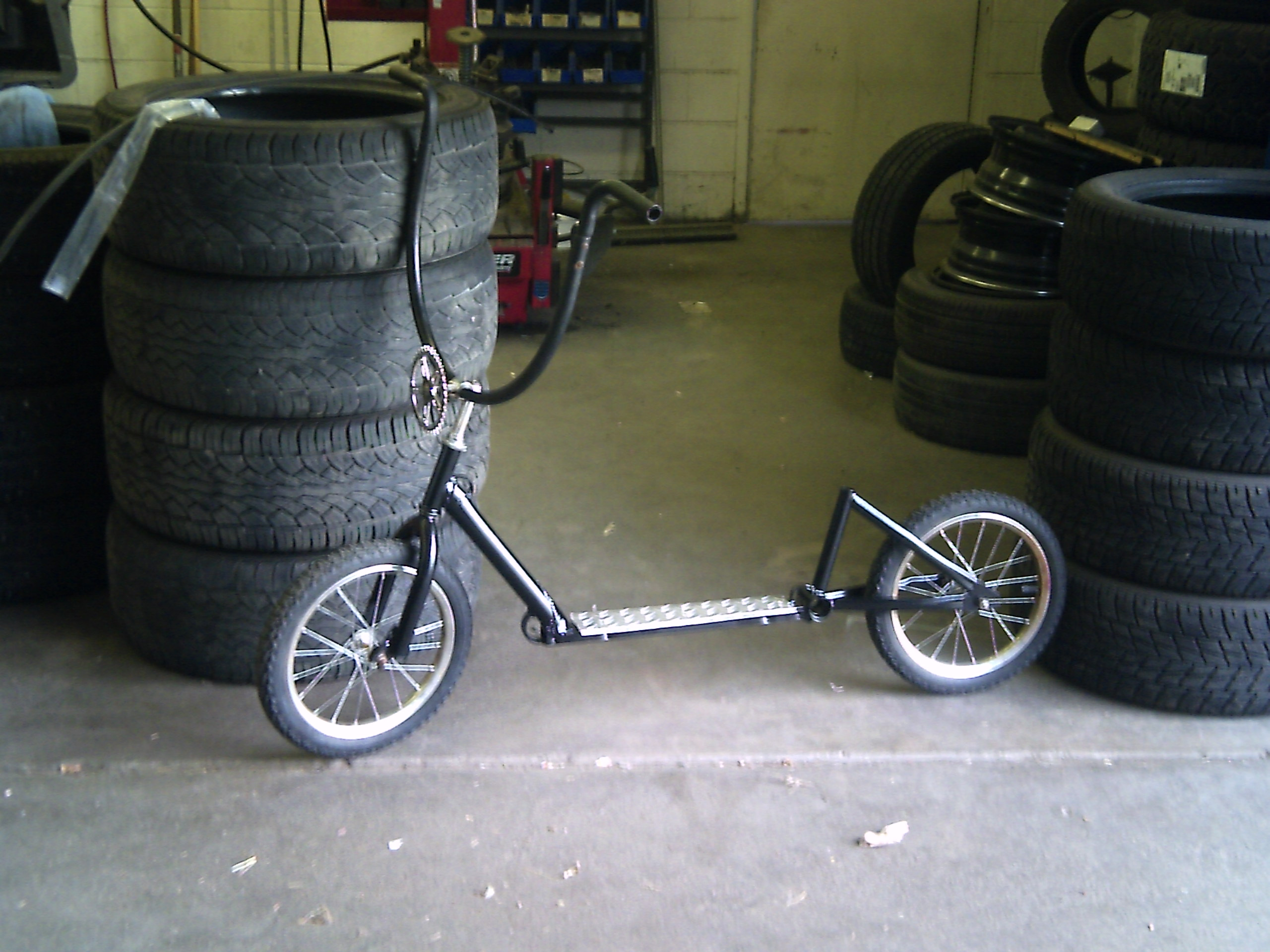 Picture of Push Scooter From an Old Bicycle and Salvaged Parts