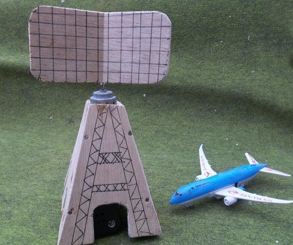 Wooden Radar Tower Toys   Working rotating antenna