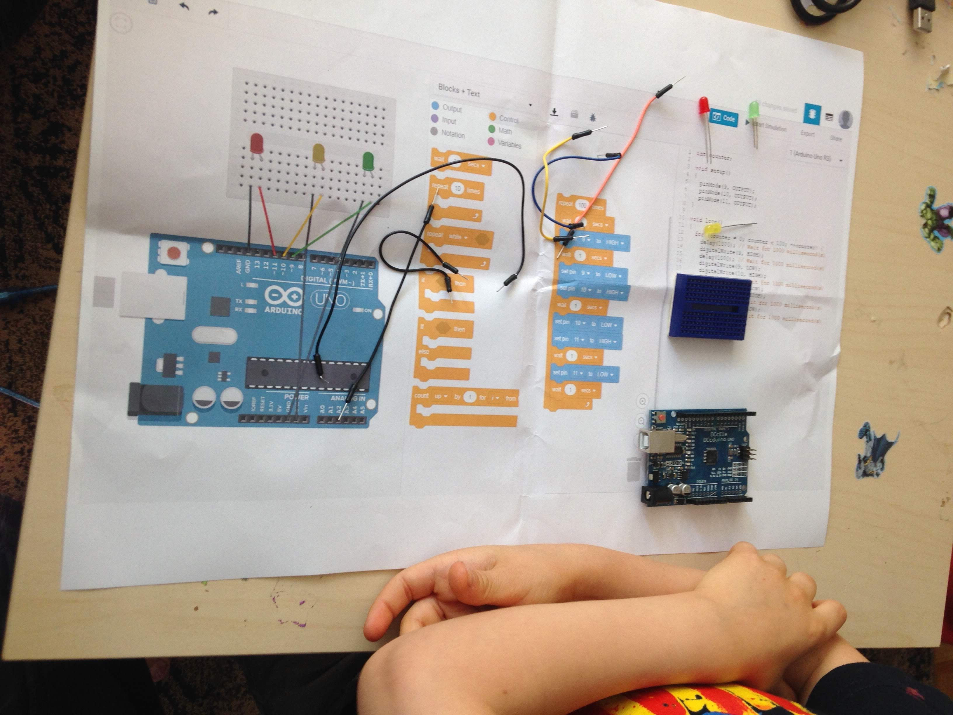 Picture of 6 Years Old Creating Basic Traffic Light With Scratch for Arduino