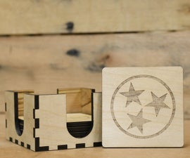 Custom Lasered Wood Coasters With Holder