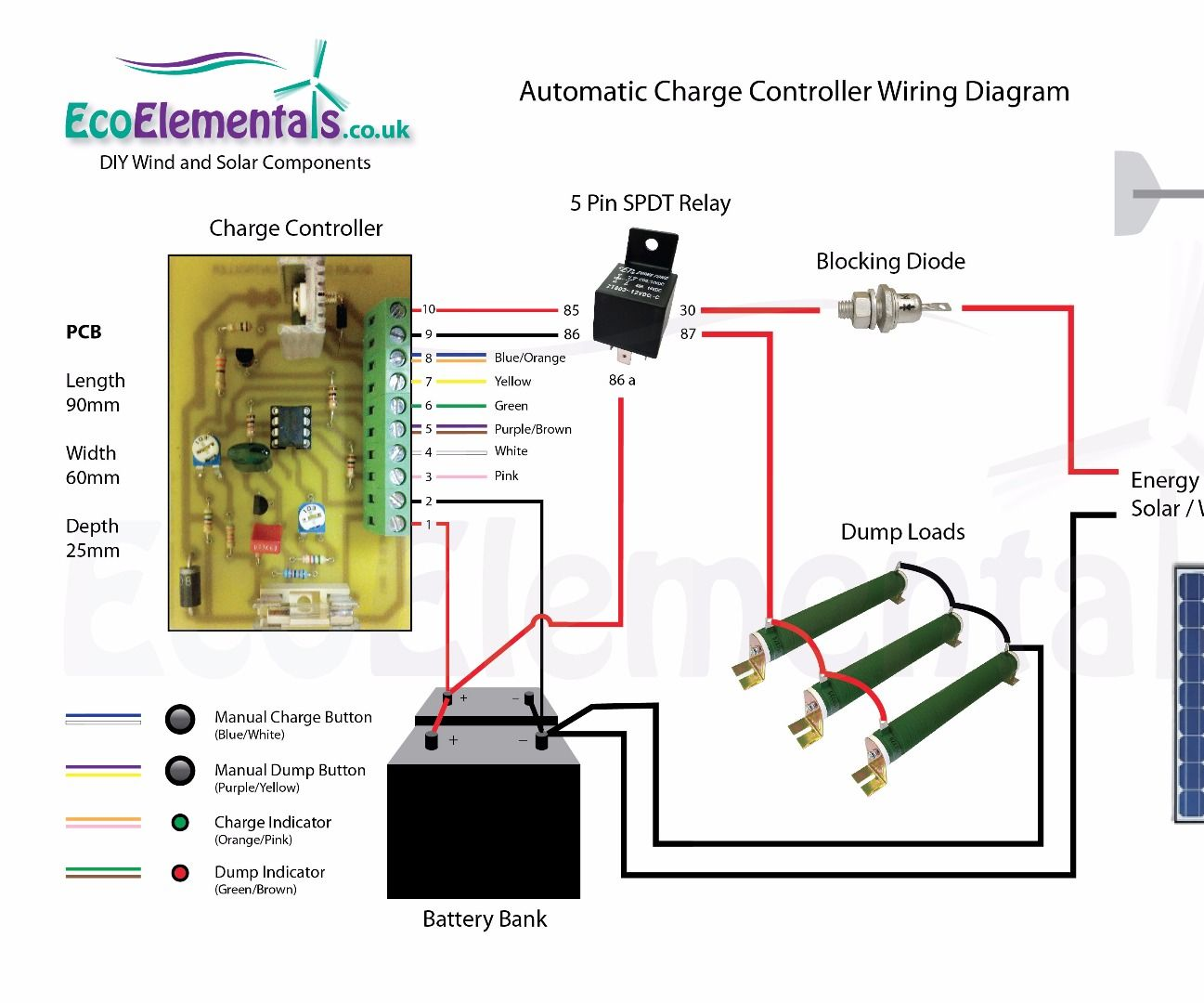 charge controller wiring diagram for diy wind turbine or solar panels rh instructables com home wind turbine wiring diagram wind turbine generator wiring diagram