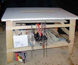 A Tall Work Table With Angled Legs and Simple Joints