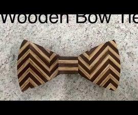 Wooden Bow Tie - Chevron Pattern
