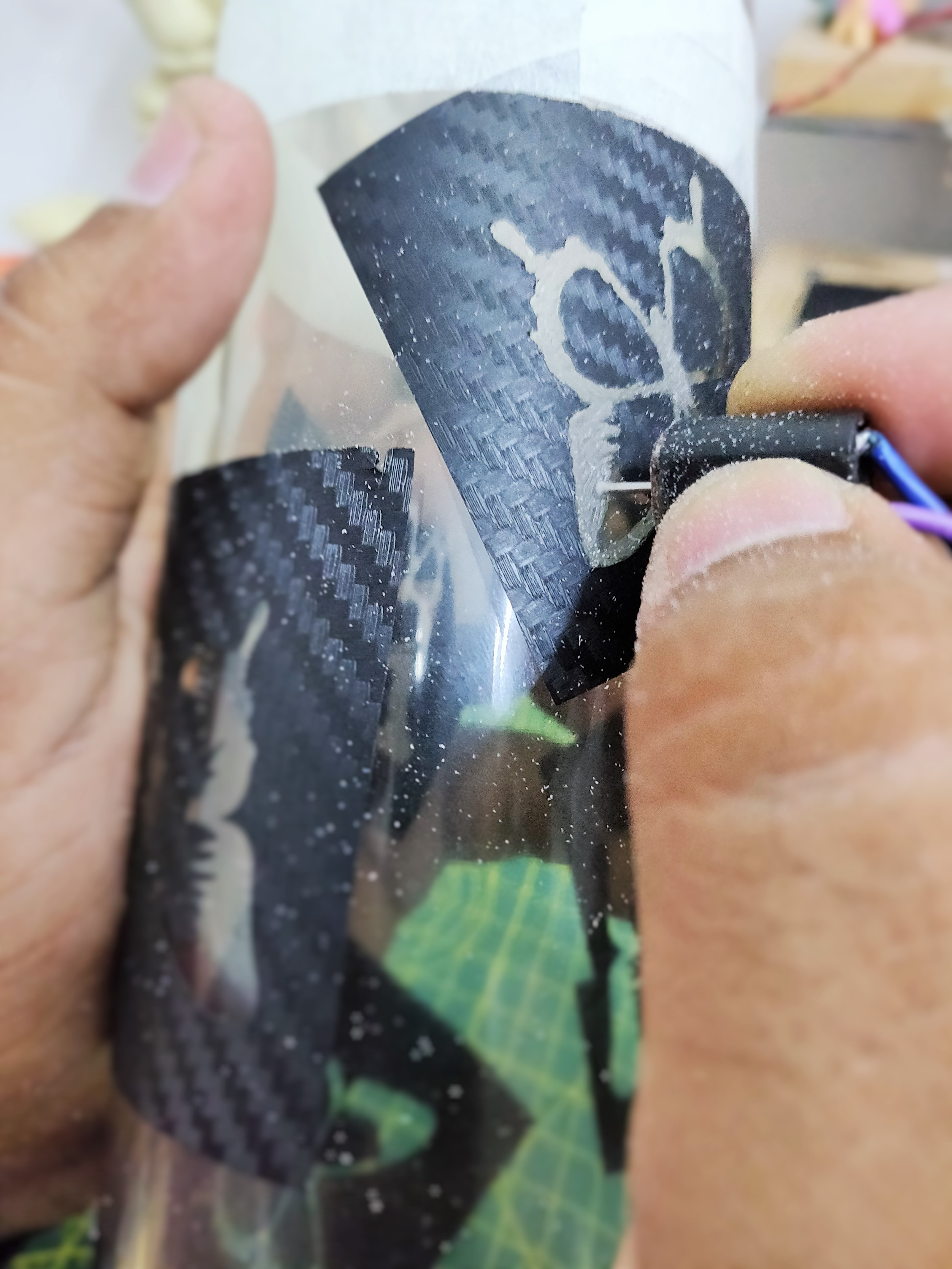 Picture of Engraving the Design on the Acrylic.