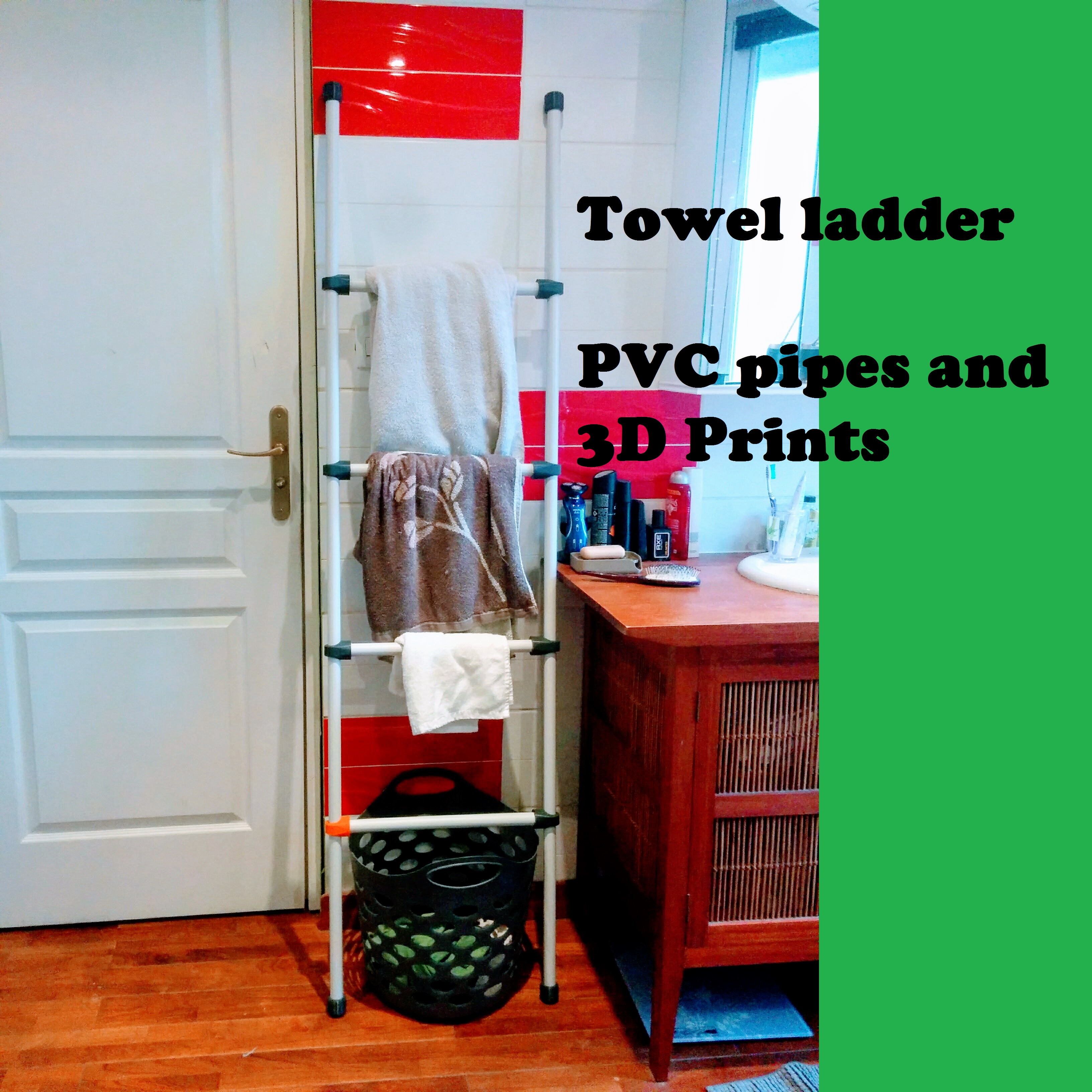 Picture of PVC Pipe and 3D-Printed Towel Ladder