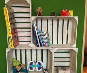 Bookshelf Made From Wooden Crates