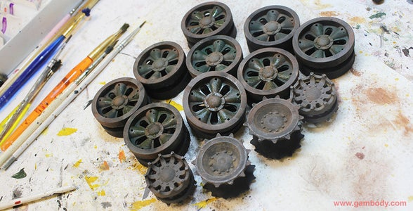 Paint the Caterpillar Tracks and the Wheels