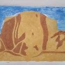 Hand-painted Reduction Linoleum Print