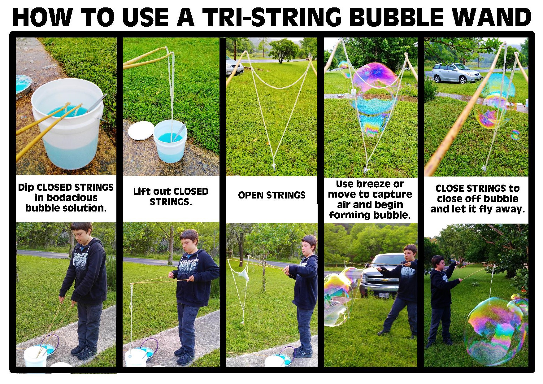 Picture of DIY BODACIOUS BUBBLE WANDS - TRI-STRING STYLE WAND