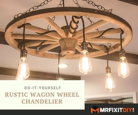 DIY Wagon Wheel Chandelier