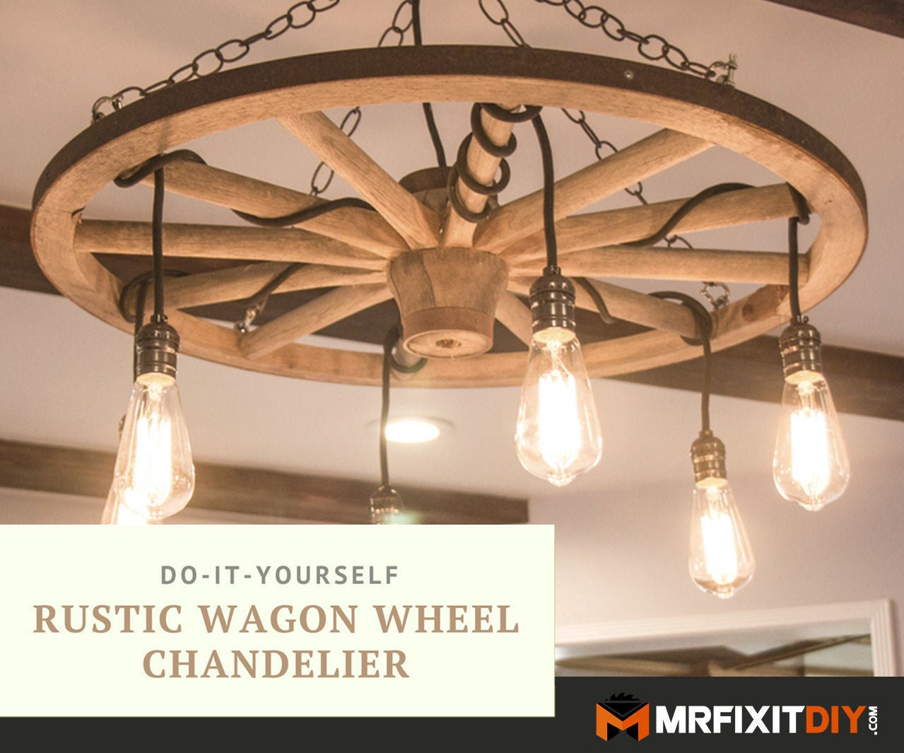 Diy wagon wheel chandelier 5 steps with pictures
