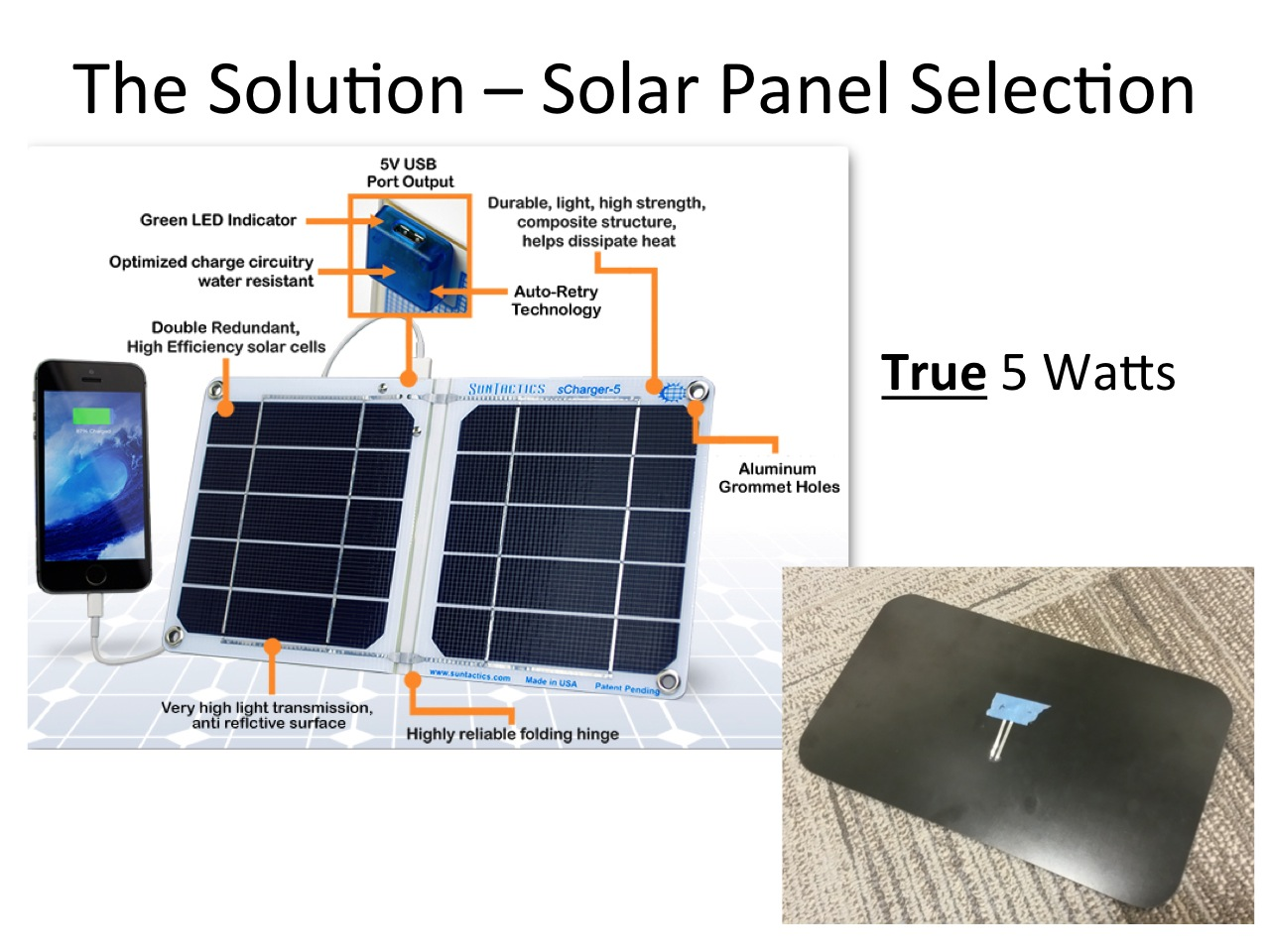Picture of The Solution: Careful Solar Panel and Battery Selection