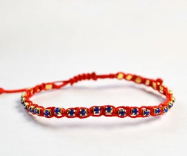 Learn From Beebeecraft How to Make a Braided Cord Bracelet With Rhinestone Chain and Knots