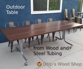 Outdoor Table From Wood and Steel Tubing