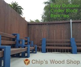 Easy Outdoor Cinder Block Benches