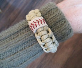 Baseball-accented paracord bracelet