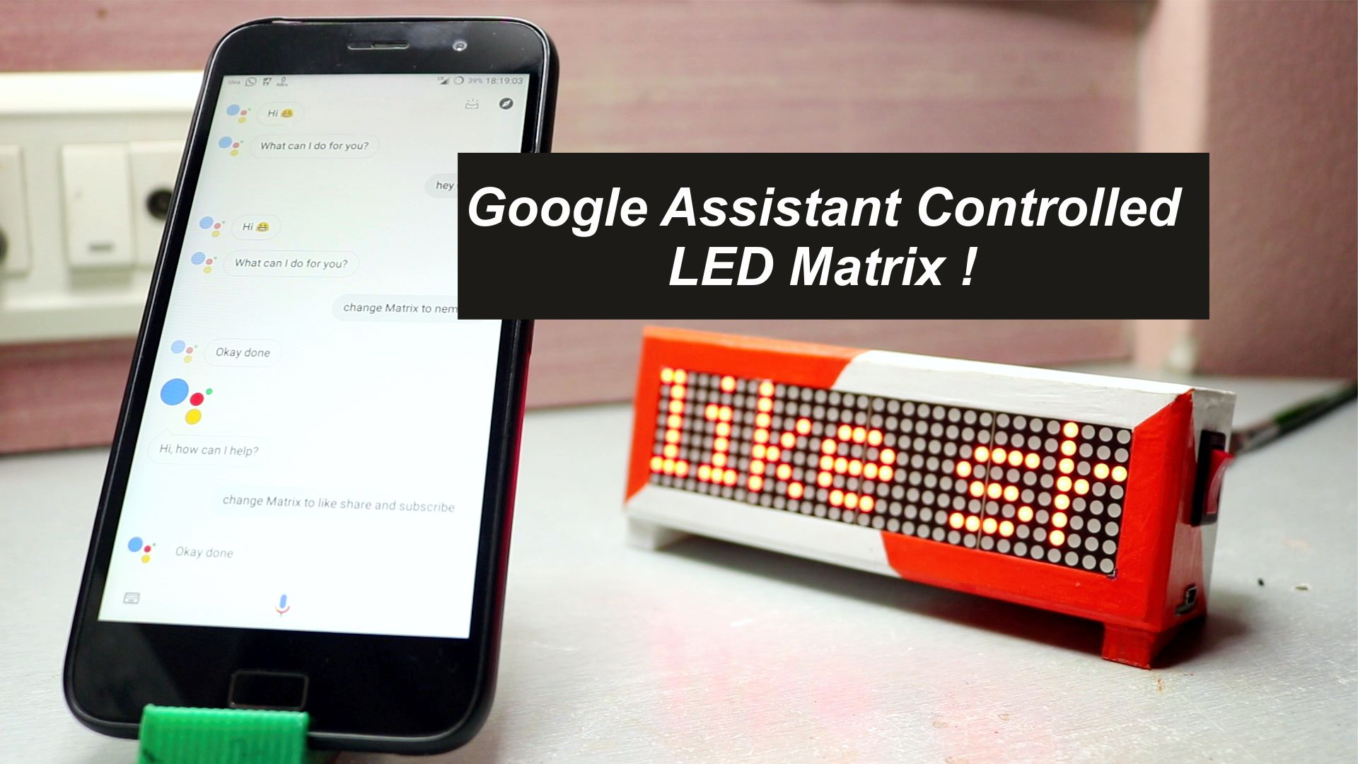 Picture of Google Assistant Controlled LED Matrix !