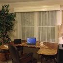 Large desk of all end grain pine, cedar, walnut, & hickory