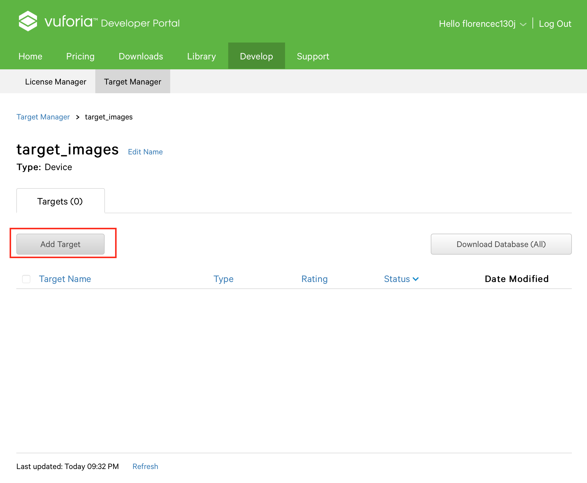 Picture of Create Target Images Database on Vuforia