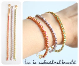 embroidered chain bracelet
